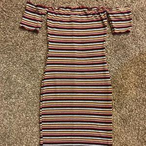 Dresses & Skirts - Multi colored shoulder dress